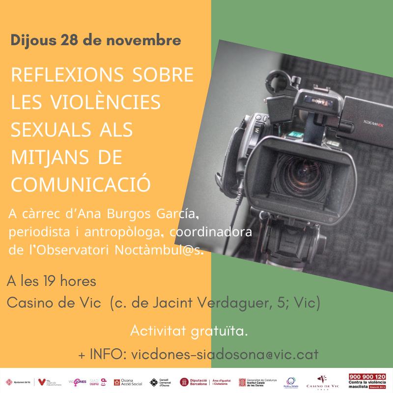 """Col.loqui """"Reflexions sobre les violències sexuals als mitjans de comunicació"""" - Vic"""