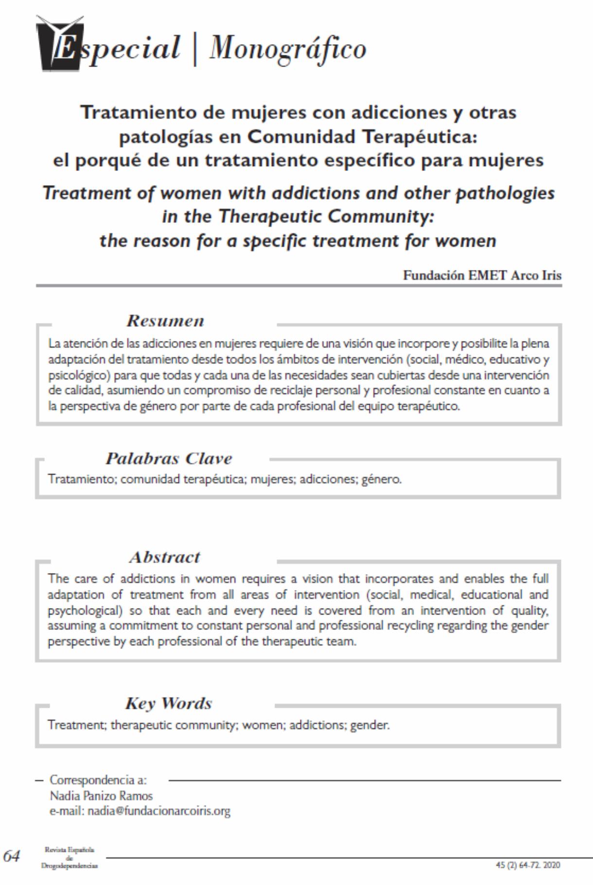 Fundación EMET Arco Iris: Tratamiento de mujeres con adicciones y otras patologías en Comunidad Terapéutica: el porqué de un tratamiento específico para mujeres