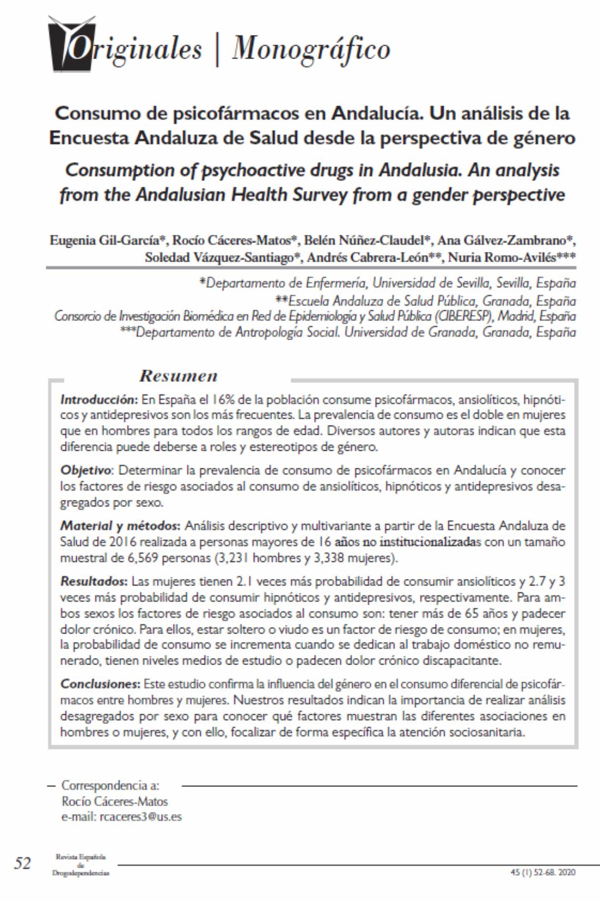 Gil-Garcia, Eugenia et Al: Consumo de psicofármacos en Andalucía. Un análisis de la Encuesta Andaluza de Salud desde la perspectiva de género