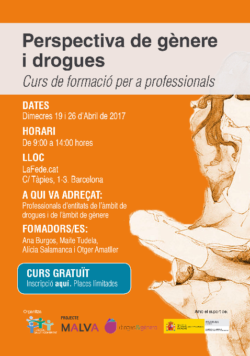 """Formación """"Perspectiva de género y drogas"""" en Barcelona – 19 y 26 abril"""