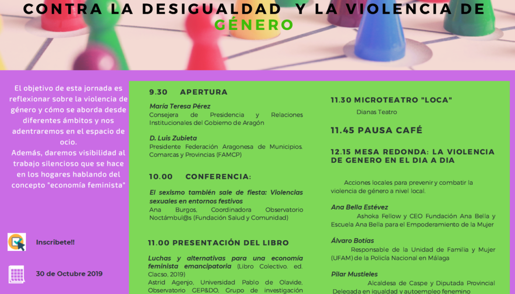 El Observatorio Noctámbul@s de FSC participa en una jornada en Zaragoza en la que se abordará la desigualdad y la violencia de género
