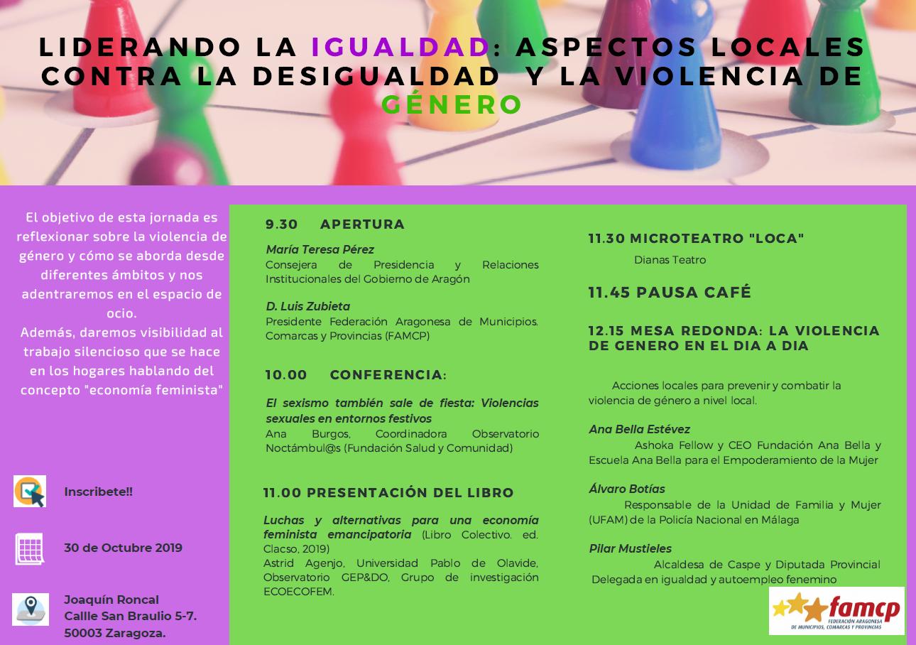 """Jornada """"Liderando la Igualdad: aspectos locales contra la desigualdad y la violencia de género"""" - Zaragoza"""