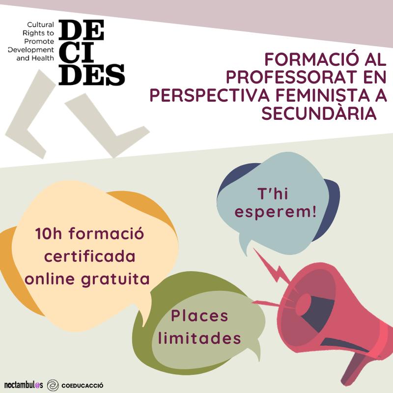 Formació per a professorat de secundària per a la prevenció de violències de gènere (projecte DECIDES) // On line