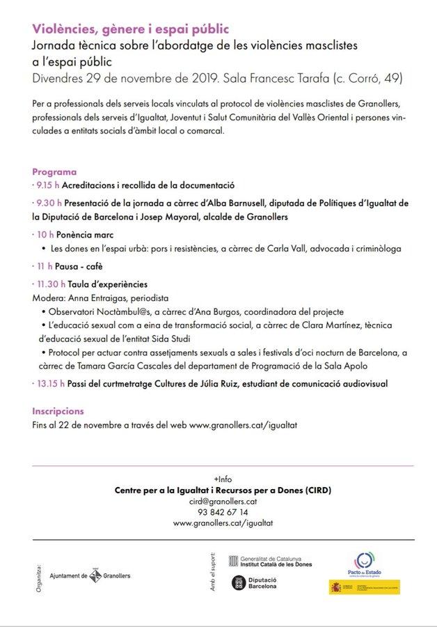 """Jornada """"Violències, gènere i espai públic"""" - Granollers"""
