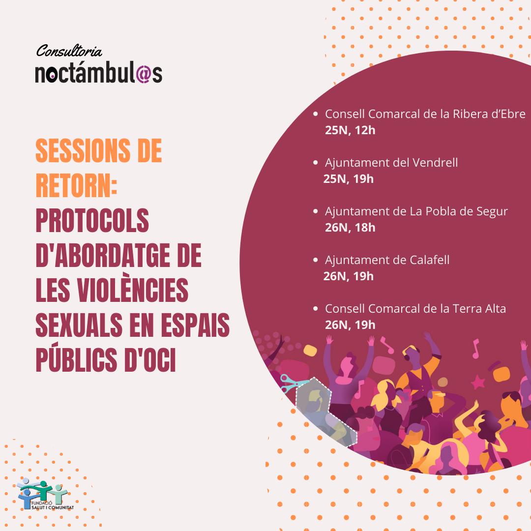 Sessions de devolució dels Protocols d'abordatge de les violències sexuals en espais públics d'oci