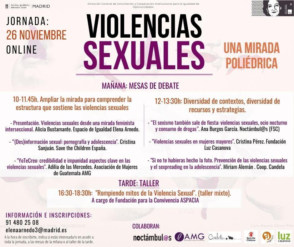 """Jornadas """"Violencias Sexuales: una mirada poliédrica // Espacio de Igualdad Elena Arnedo de Madrid"""