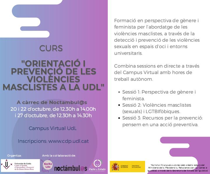 Orientació i prevenció de violències masclistes a la Universitat de Lleida // On Line