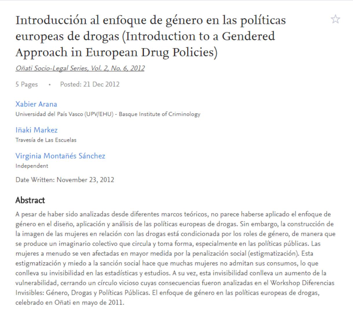 Arana, X., Markez, I., Montañés, V. : Introducción al enfoque de género en las políticas europeas de drogas