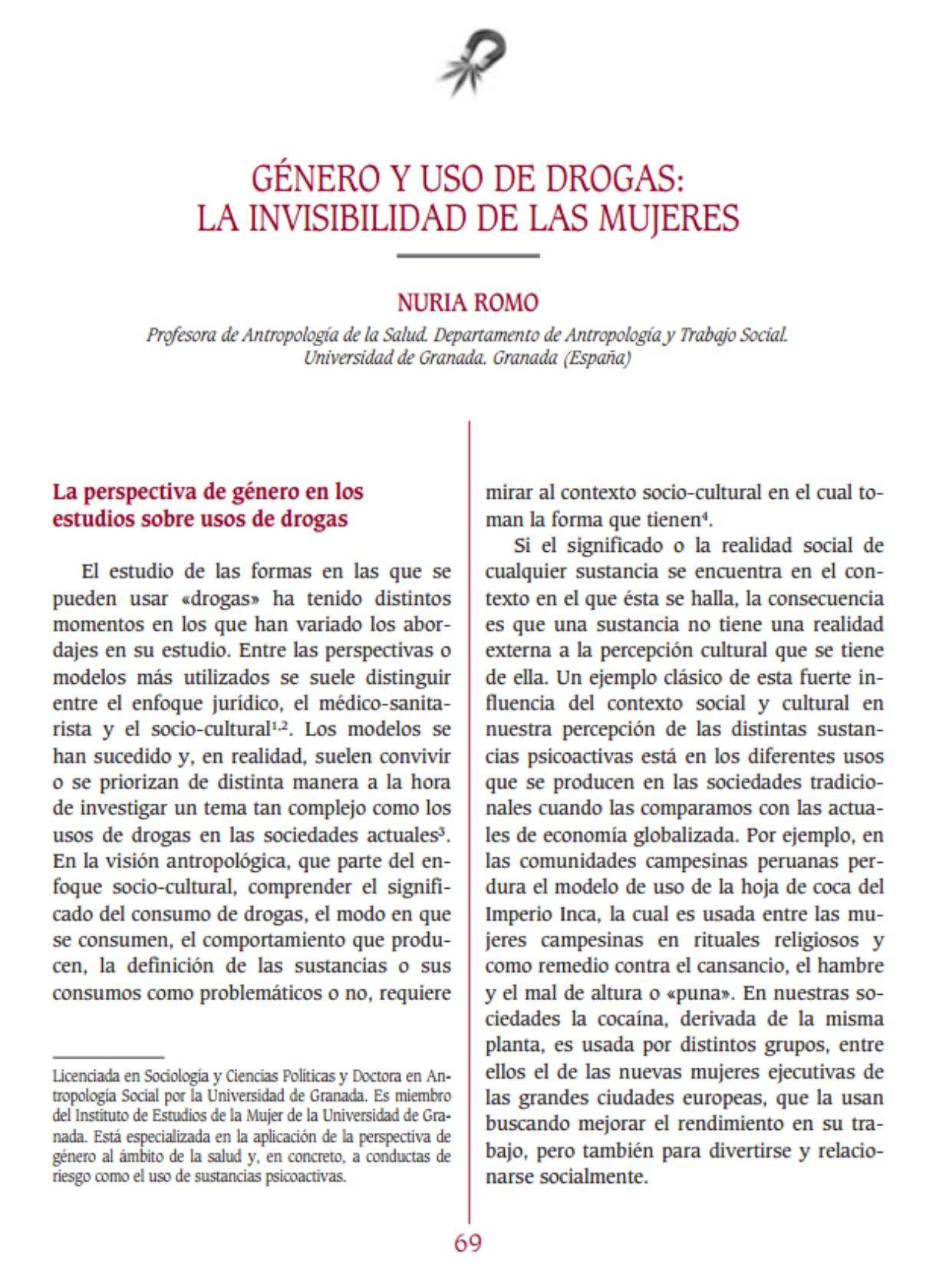 Romo, Nuria: Género y uso de drogas: La invisibilidad de la mujeres