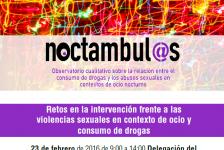 Jornada Retos en la intervención frente a las violencias sexuales en contexto de ocio y consumo de drogas.